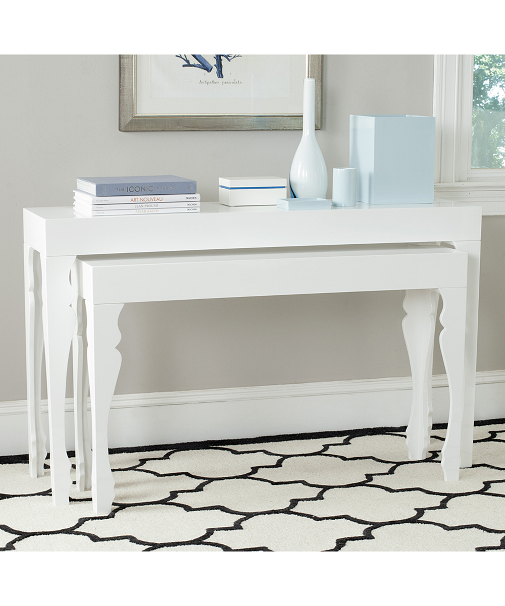 White Pietro Lacquer Console Table Set Zulily