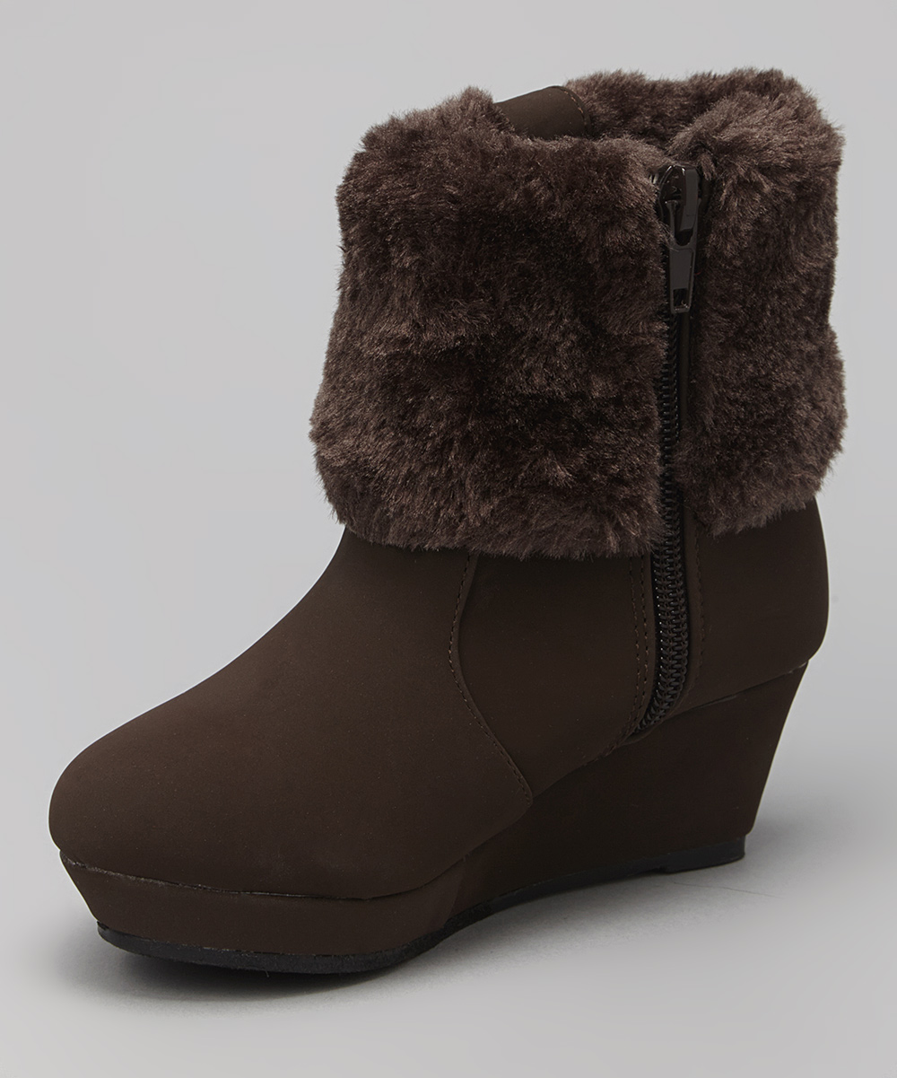 qq brown faux fur wedge boot zulily