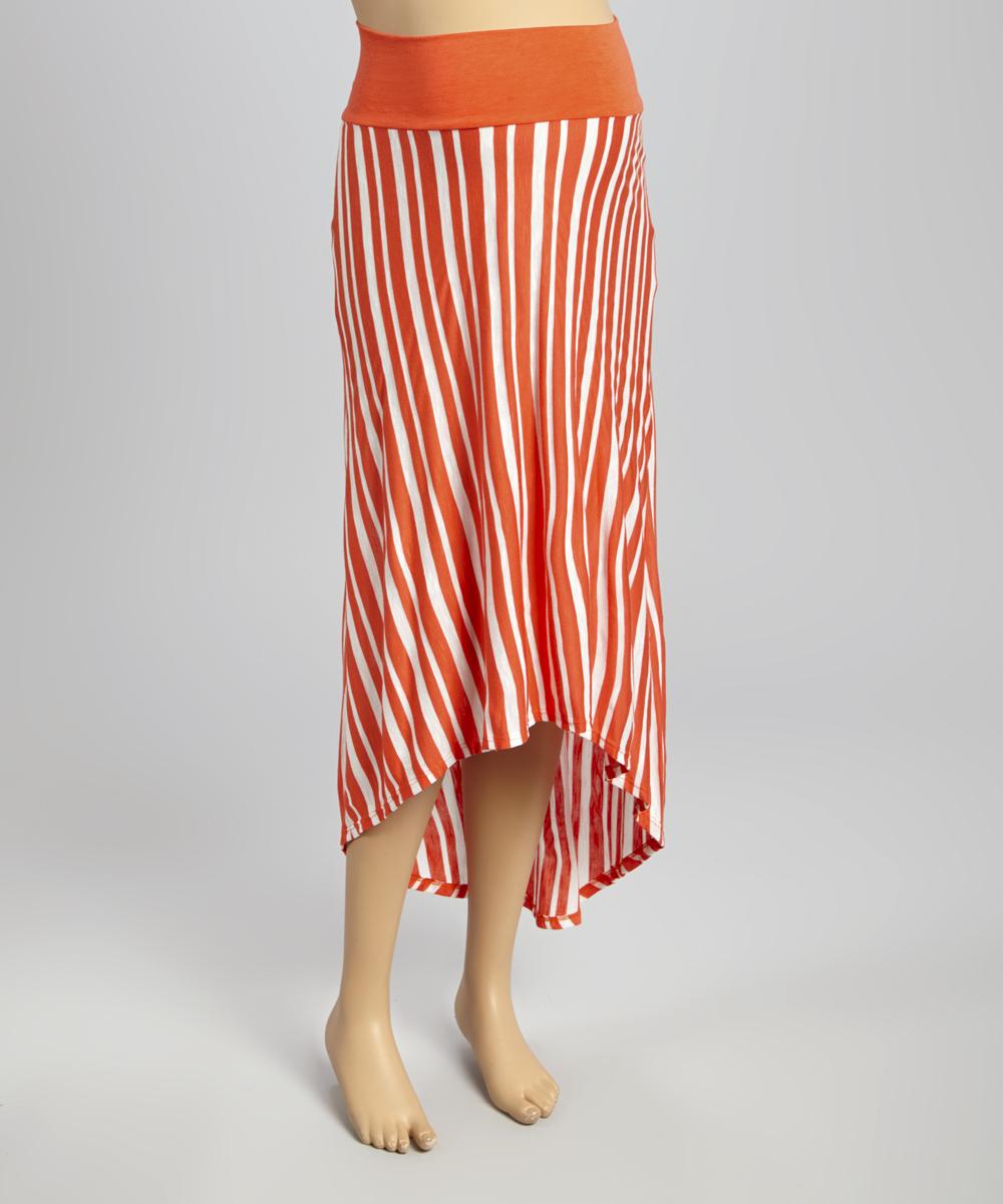 orange white stripe maternity hi low skirt zulily