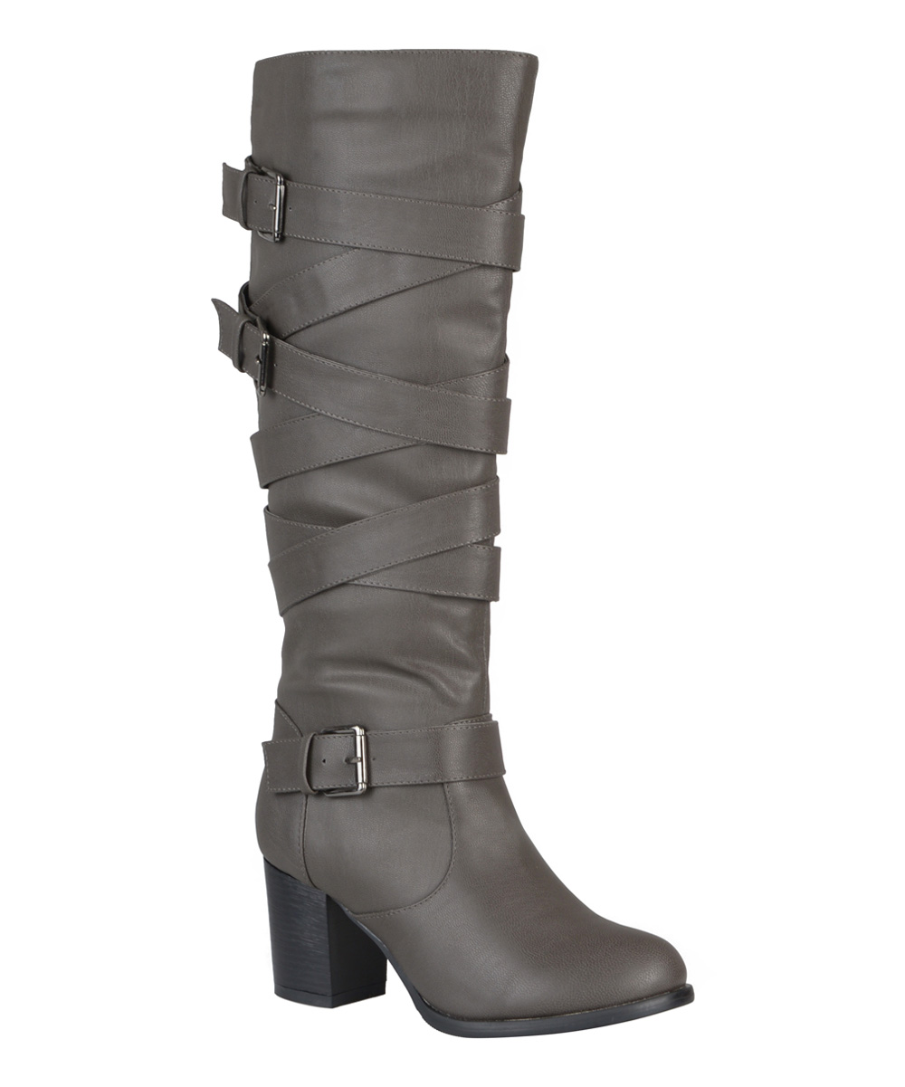 journee collection gray dottie wide calf boot zulily