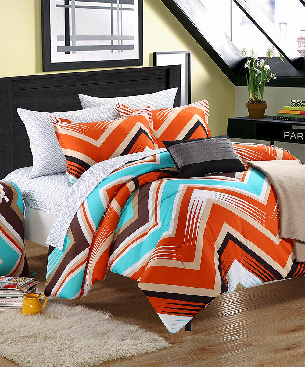 Orange blue zigzag comforter set zulily - Orange and blue comforter ...