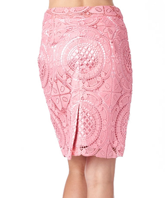 commeusa pink lace pencil skirt zulily
