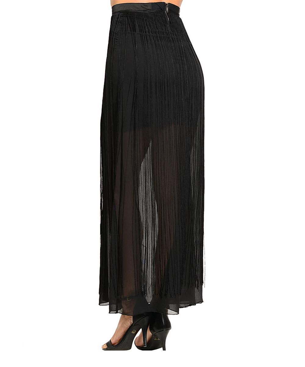 shop the trends black sheer maxi skirt zulily