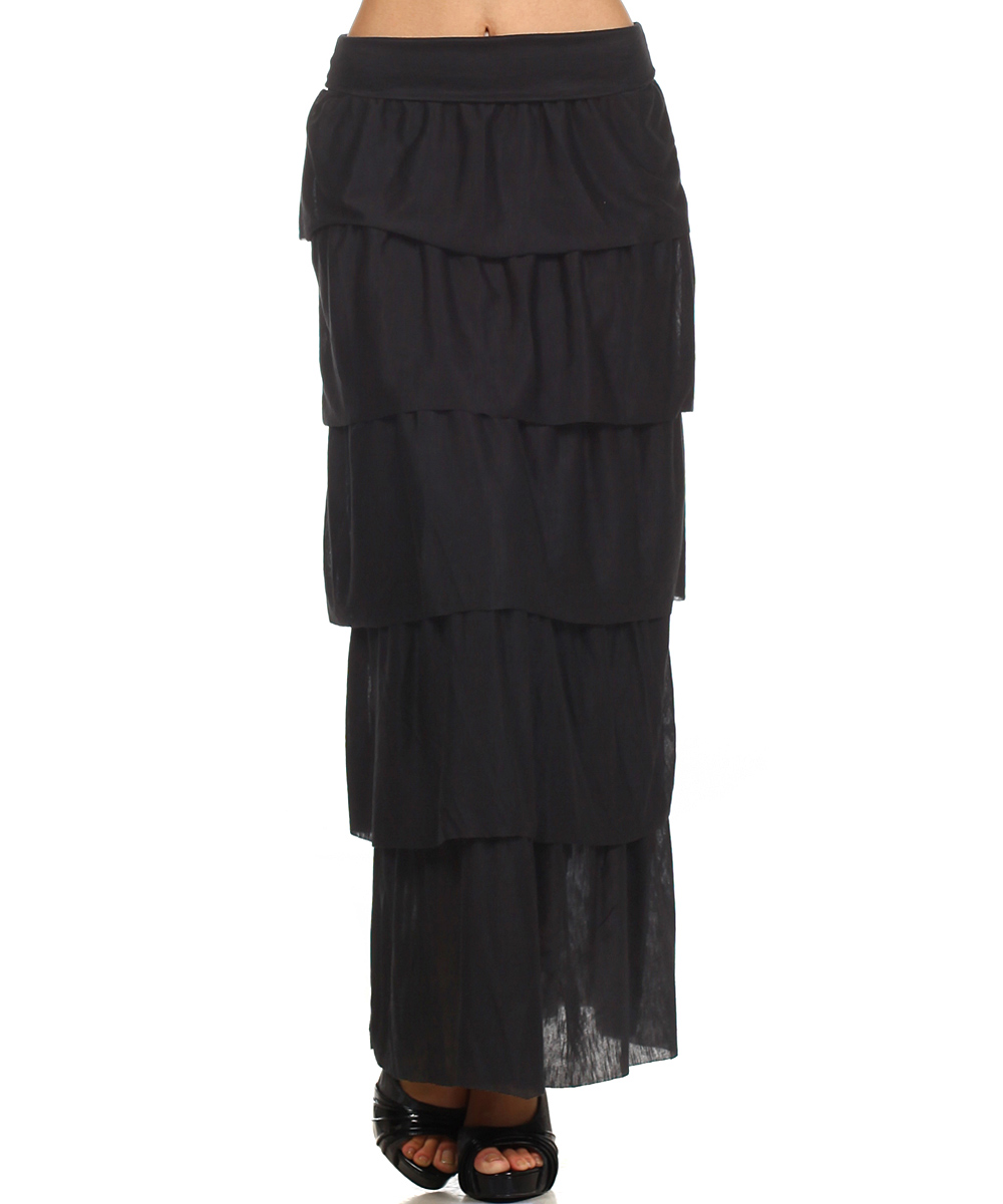 j mode usa los angeles black tiered maxi skirt zulily