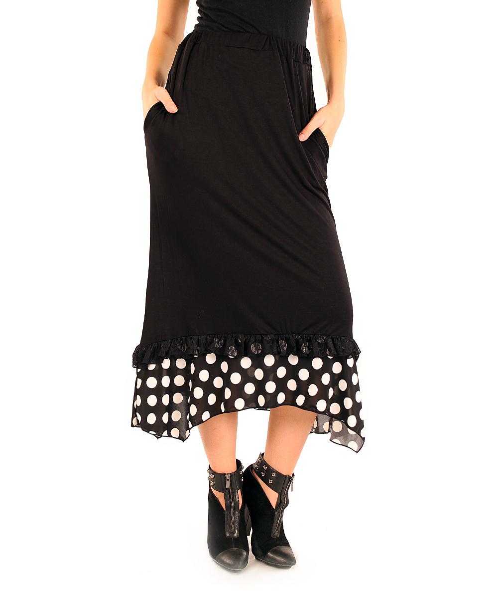 aster black white polka dot midi skirt zulily