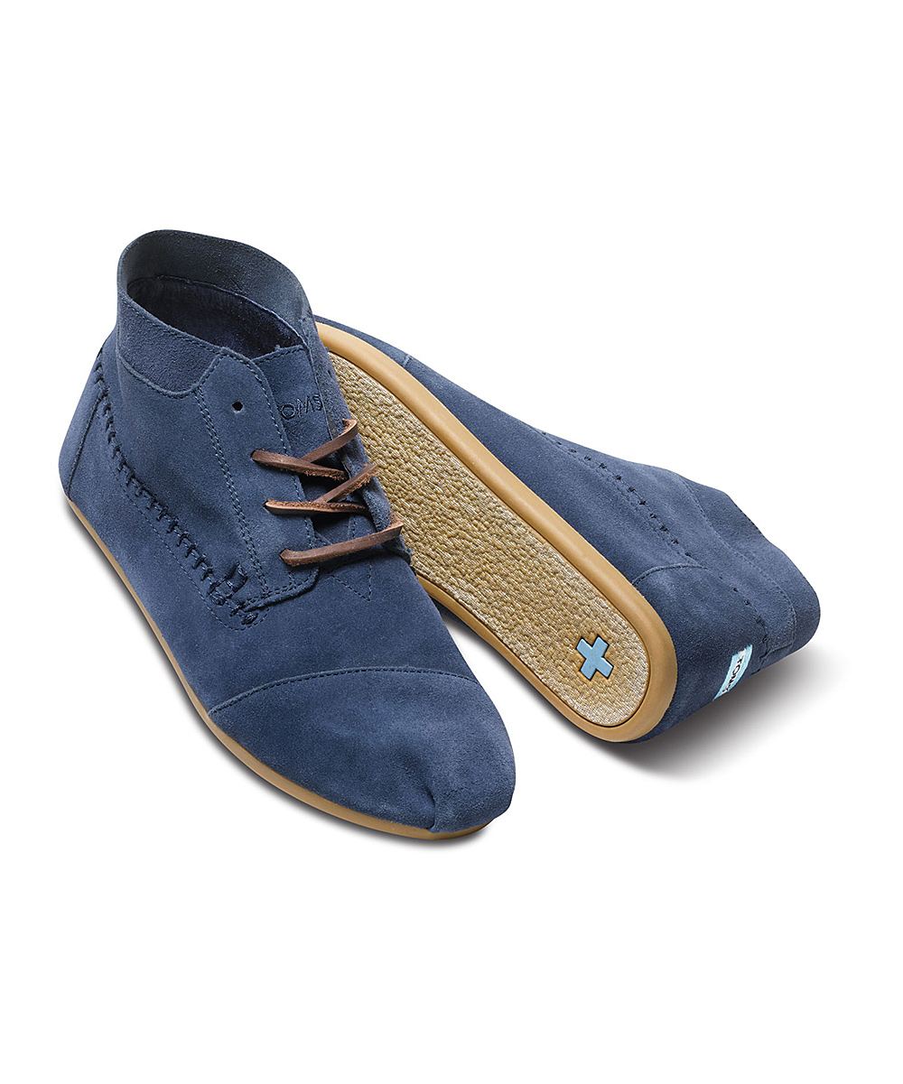 toms navy suede moccasin boot zulily