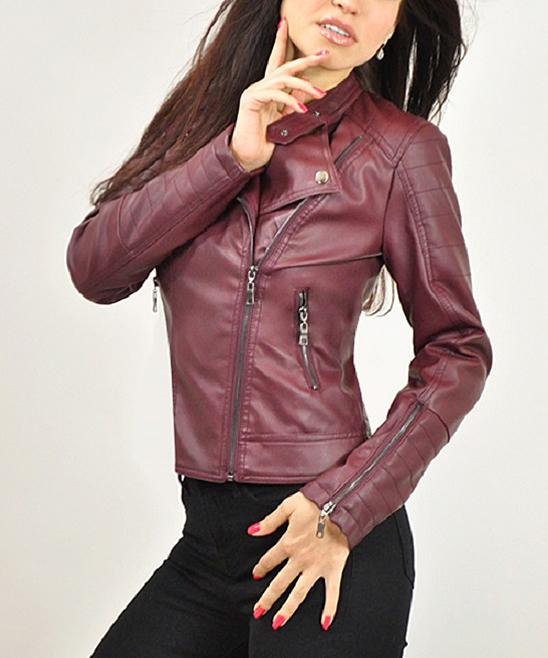 Elegant Maroon Faux Leather Motorcycle Jacket | zulily