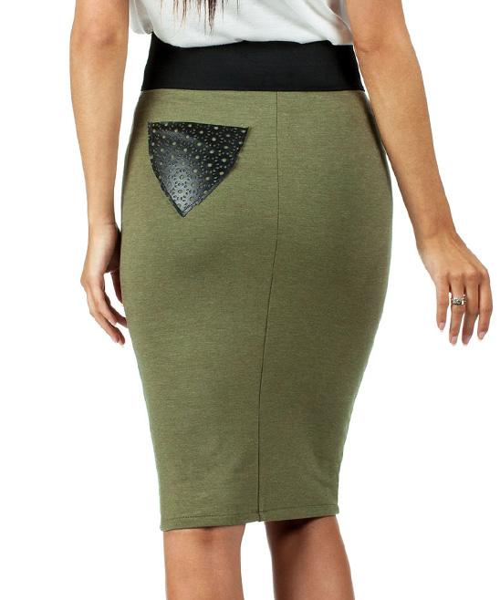 moe khaki high waist pencil skirt zulily