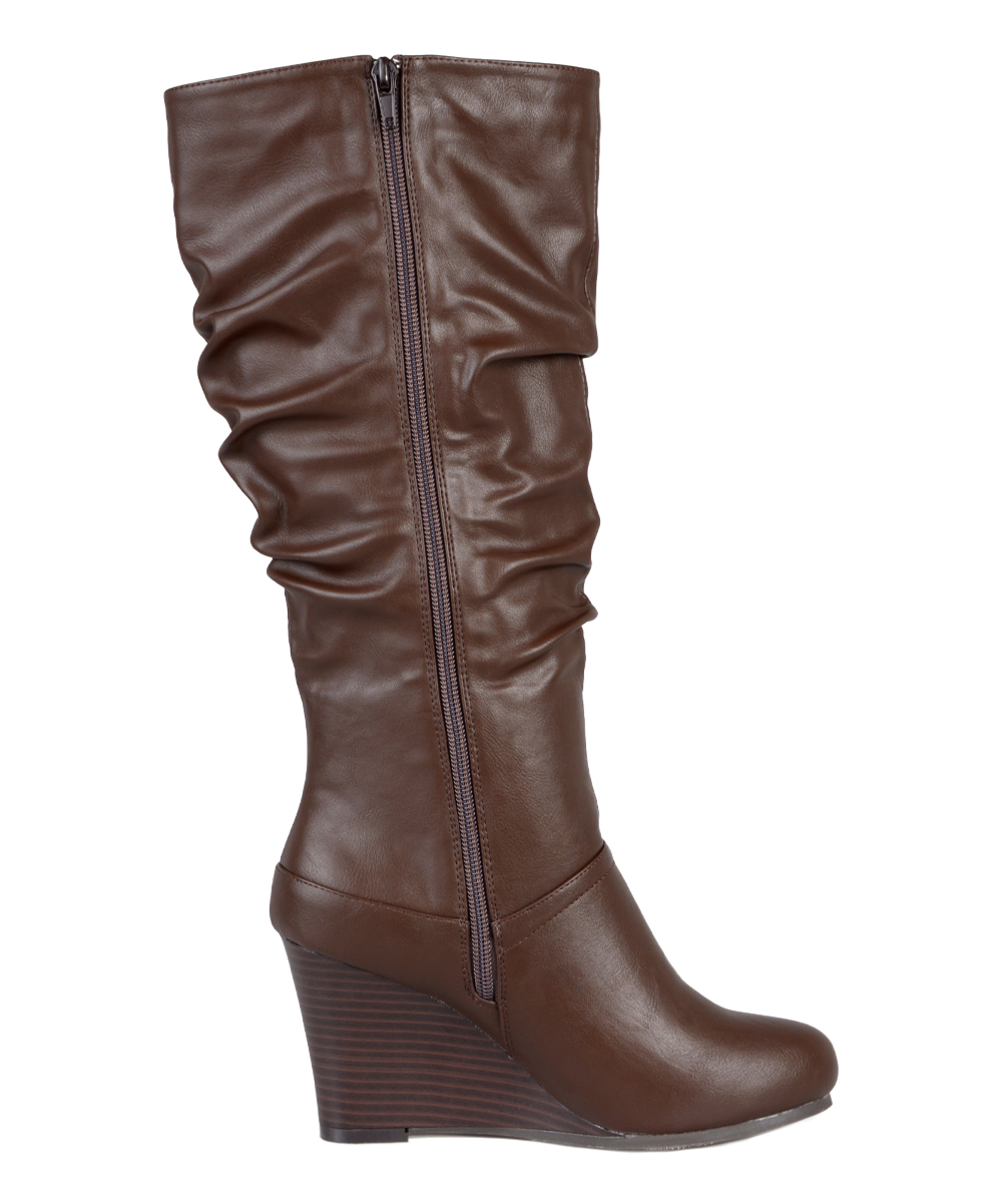 brinley co brown wide calf wedge boot zulily