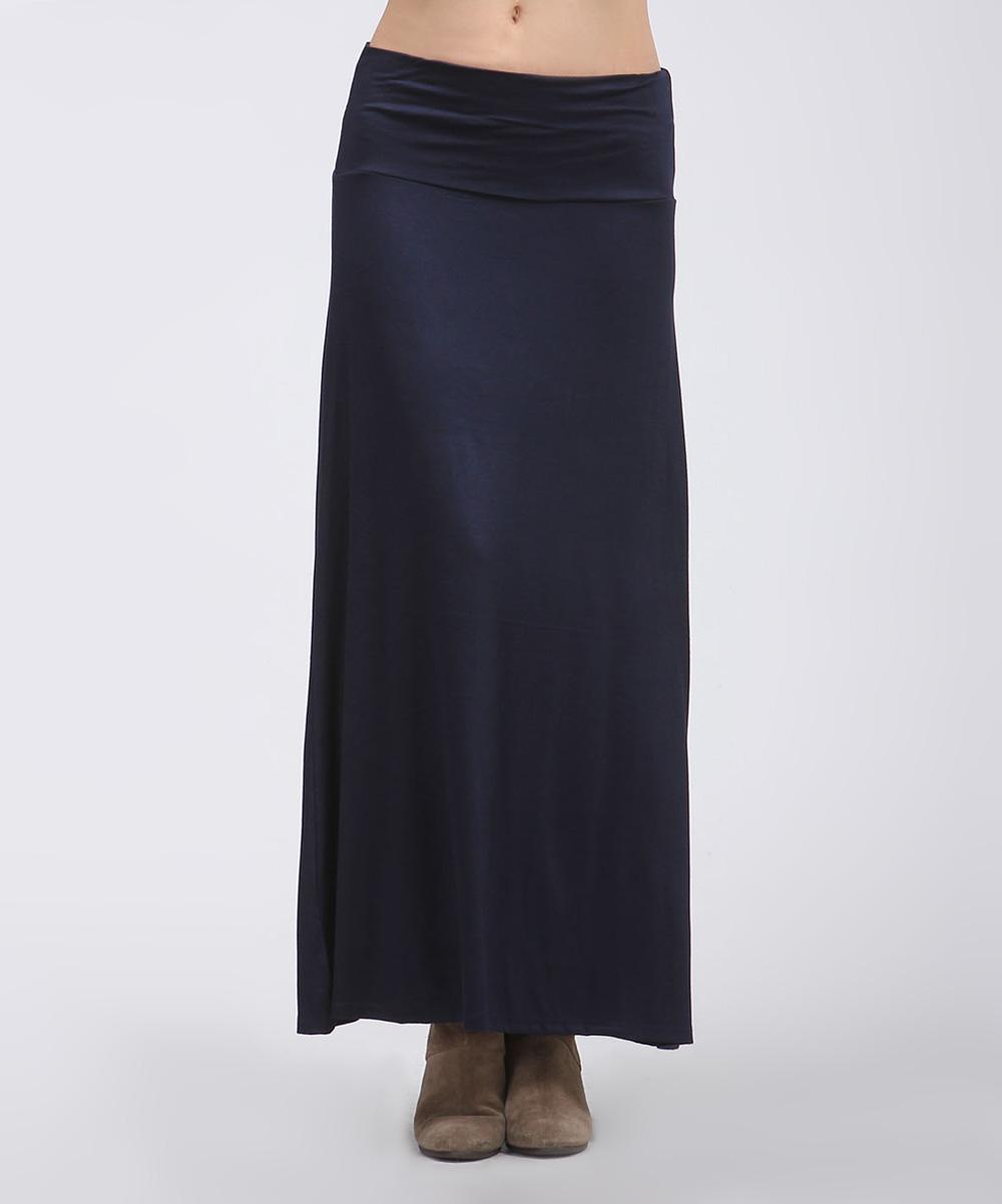 bold beautiful navy maxi skirt plus zulily