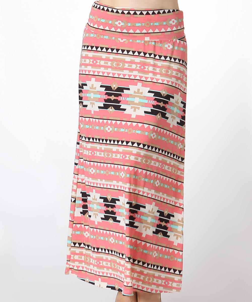 bold beautiful dusty pink geometric maxi skirt plus