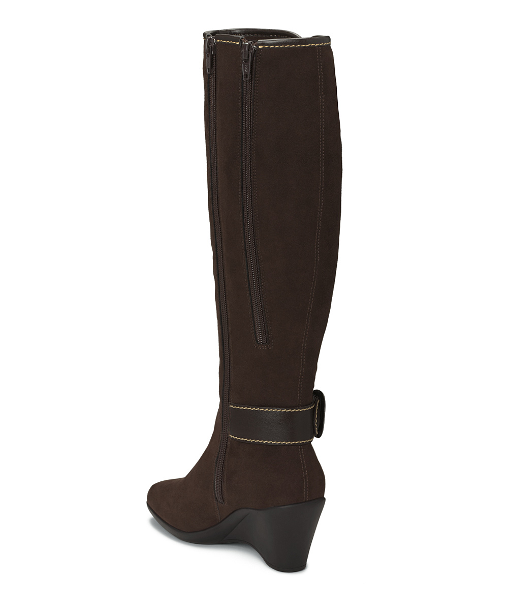 aerosoles brown wonderling wide calf wedge boot zulily