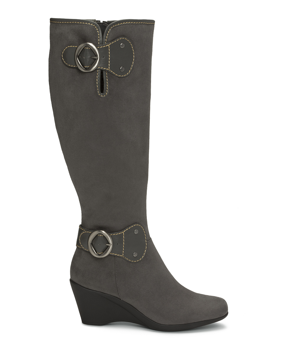 aerosoles gray wonderling wedge wide calf boot zulily