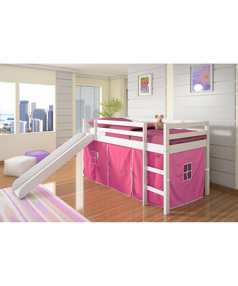 Pink & White Tent Loft Bed & Slide | something special every day