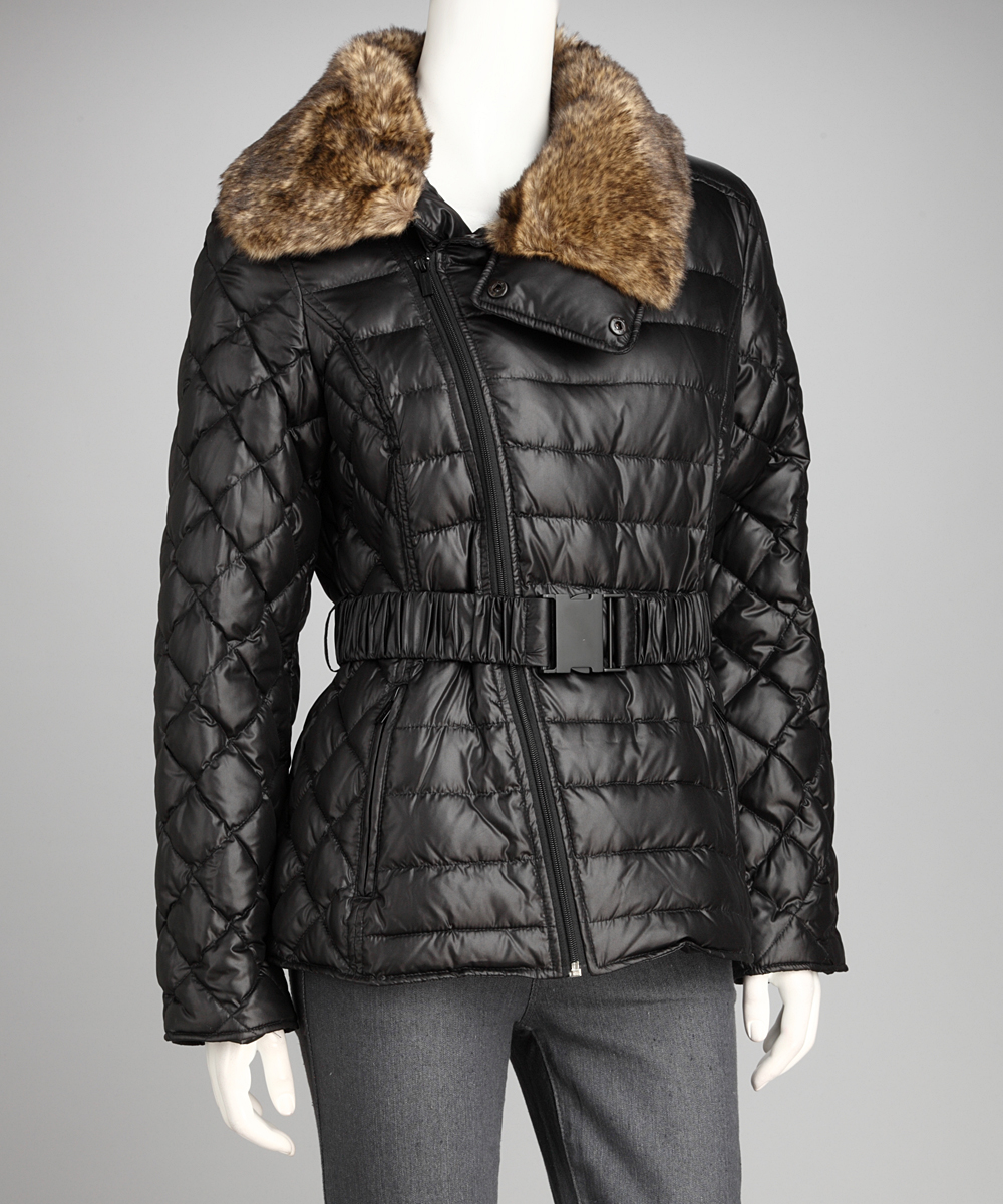 Kenneth Cole Black Faux Fur Collar Puffer Coat - Women | zulily
