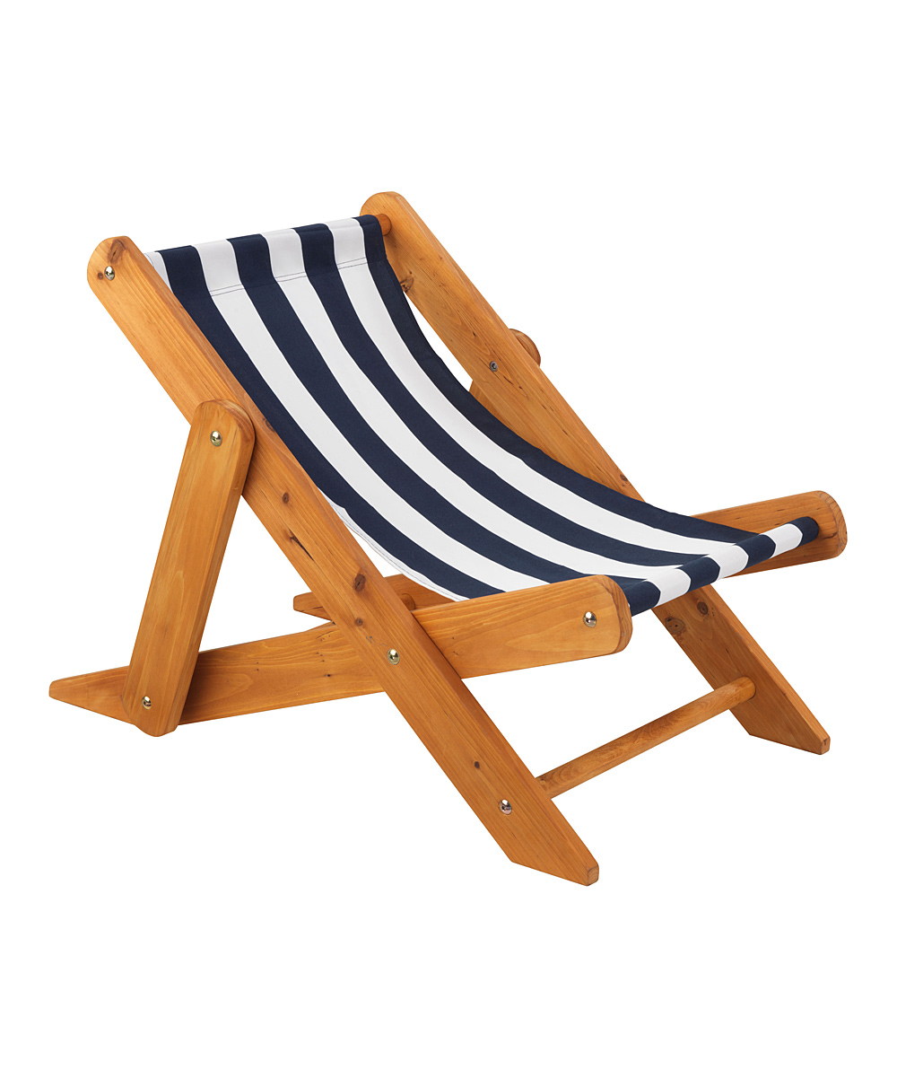 Kidkraft navy stripe sling chair zulily for Chaise longue bois et toile