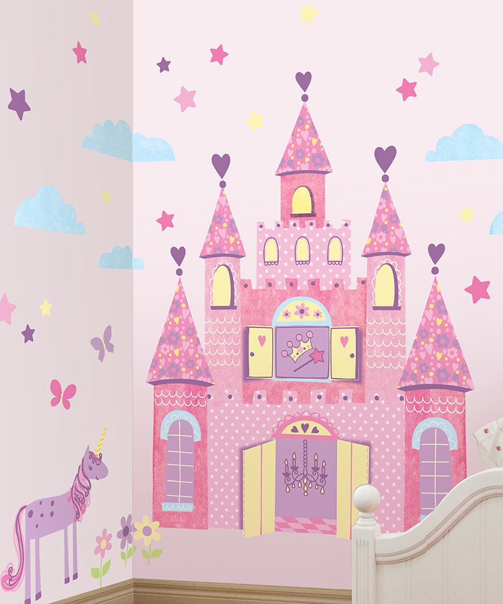 Lot 26 studio purple princess castle wall decal set zulily for Castle wall mural sticker