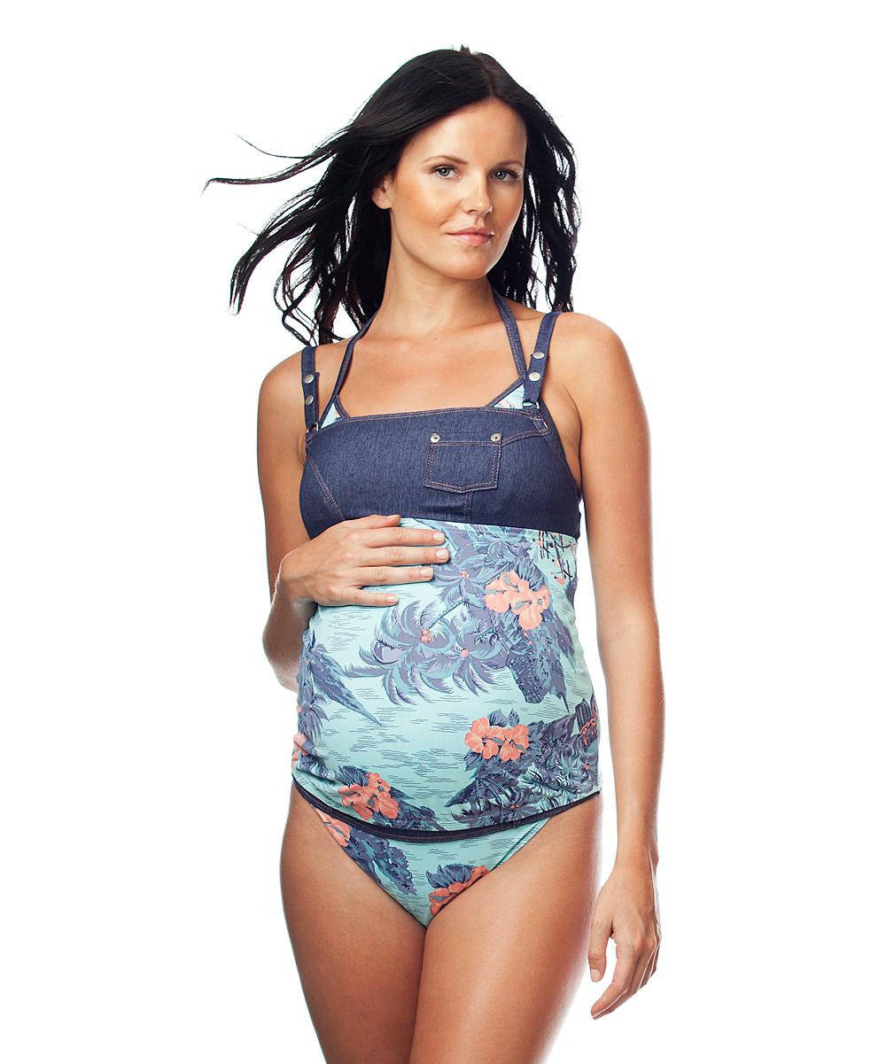 Tween Tankini Blue hawaii maternity tankini