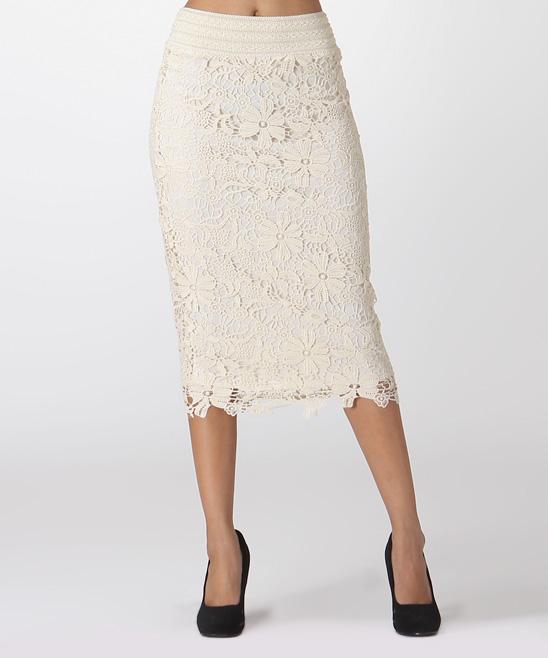 white floral lace pencil skirt