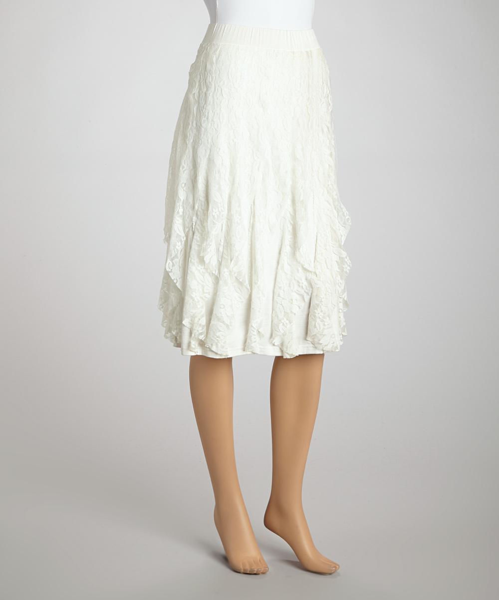 zashi ivory lace skirt zulily